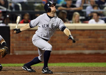 NEW YORK - JUNE 28:  Brett Gardner #11 of the New York Yankees bats against the New York Mets on June 28, 2009 at Citi Field in the Flushing neighborhood of the Queens borough of New York City. The Yankees defeated the Mets 4-2.  (Photo by Jim McIsaac/Get