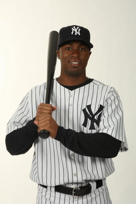 TAMPA, FL - FEBRUARY 19:  Austin Jackson #82 of the New York Yankees poses during Photo Day on February 19, 2009 at Legends Field in Tampa, Florida. (Photo by Nick Laham/Getty Images)
