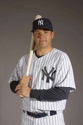TAMPA, FL - FEBRUARY 21:  Austin Romine of the New York Yankees poses during Photo Day on February 21, 2008 at Legends Field in Tampa, Florida. (Photo by Nick Laham/Getty Images)