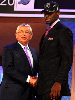 NEW YORK - JUNE 25:  NBA Commissioner David Stern poses for a photograph with the fourth overall draft pick by the Sacramento Kings,  Tyreke Evans during the 2009 NBA Draft at the Wamu Theatre at Madison Square Garden June 25, 2009 in New York City. NOTE