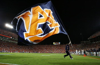 AUBURN, AL - SEPTEMBER 20:  A member of the Auburn Tigers celebrates after the offense scored against the LSU Tigers at Jordan-Hare Stadium on September 20, 2008 in Auburn, Alabama. LSU defeated Auburn 26-21.  (Photo by Doug Benc/Getty Images)