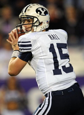 FORT WORTH, TX - OCTOBER 16:  Quarterback Max Hall #15 of the BYU Cougars drops back to pass against the TCU Horned Frogs in the first quarter at Amon G. Carter Stadium on October 16, 2008 in Fort Worth, Texas.  (Photo by Ronald Martinez/Getty Images)