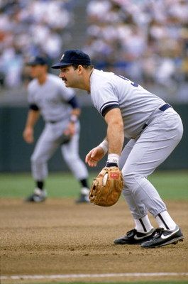 1989:  Steve Balboni #50 of the New York Yankees readies for a play during a 1989 season game.  Steve Balboni played for the New York Yankees from 1981-1983 and 1989-1990. (Photo by Otto Greule Jr/Getty Images)