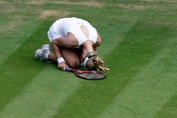 WIMBLEDON, ENGLAND - JULY 02:  Elena Dementieva of Russia looks dejected during the women's singles semi final match against Serena Williams of USA on Day Ten of the Wimbledon Lawn Tennis Championships at the All England Lawn Tennis and Croquet Club on Ju