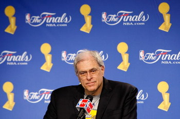 ORLANDO, FL - JUNE 14:  Head coach Phil Jackson of the Los Angeles Lakers speaks to the media after the Lakers defeated the Orlando Magic in Game Five of the 2009 NBA Finals on June 14, 2009 at Amway Arena in Orlando, Florida.  The Lakers won 99-86.  NOTE