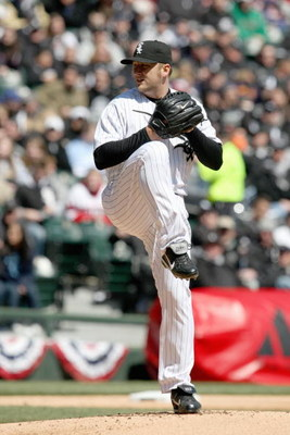 CHICAGO - APRIL 7: Mark Buehrle #56 of the Chicago White Sox pitches against the Kansas City Royals during the Opening Day game on April 7, 2009 at U.S. Cellular Field in Chicago, Illinois. (Photo by Jonathan Daniel/Getty Images)