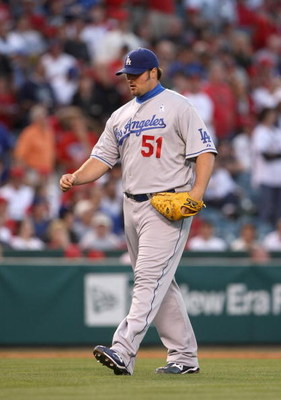 ANAHEIM, CA - JUNE 21:  Pitcher Jonathan Broxton #51 of the Los Angeles Dodgers comes into the game against the Los Angeles Angels of Anaheim on June 21, 2009 at Angel Stadium in Anaheim, California.   The Dodgers won 5-3.  (Photo by Stephen Dunn/Getty Im