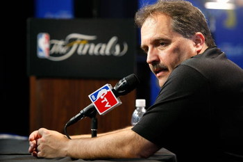 ORLANDO, FL - JUNE 14:  Head coach Stan Van Gundy of the Orlando Magic talks to the media after the Magic lost to the Los Angeles Lakers in Game Five of the 2009 NBA Finals on June 14, 2009 at Amway Arena in Orlando, Florida.  The Lakers won 99-86.  NOTE