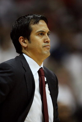 ATLANTA - MAY 03:  Head coach Erik Spoelstra of the Miami Heat watches his team late in the game against the Atlanta Hawks during Game Seven of the Eastern Conference Quarterfinals at Philips Arena on May 3, 2009 in Atlanta, Georgia. The Hawks defeated th