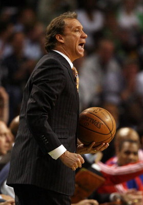 BOSTON - MAY 28:  Head coach Flip Saunders of the Detroit Pistons shouts from the sidelines while playing against the Boston Celtics during Game Five of the Eastern Conference finals during the 2008 NBA Playoffs at TD Banknorth Garden on May 28, 2008 in B