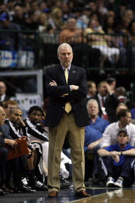 DALLAS - APRIL 23:  Head coach Gregg Popovich of the San Antonio Spurs during play against the Dallas Mavericks in Game Three of the Western Conference Quarterfinals during the 2009 NBA Playoffs at American Airlines Center on April 23, 2009 in San Antonio