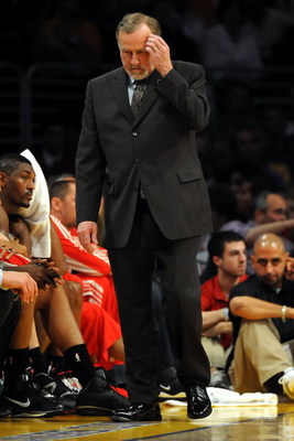 LOS ANGELES, CA - MAY 06:  Head coach Rick Adelman of the Houston Rockets looks down in the second half against the Los Angeles Lakers in Game Two of the Western Conference Semifinals during the 2009 NBA Playoffs at Staples Center on May 6, 2009 in Los An