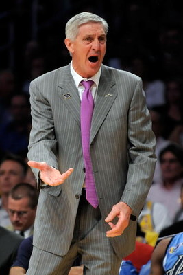 LOS ANGELES, CA - APRIL 27:  Head coach Jerry Sloan of the Utah Jazz reacts in the first half against the Los Angeles Lakers in Game Five of the Western Conference Quarterfinals during the 2009 NBA Playoffs at Staples Center on April 27, 2009 in Los Angel