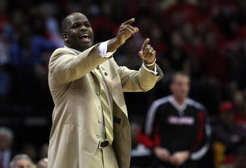 HOUSTON - APRIL 24:  Head coach Nate McMillan of the Portland Trail Blazers yells at his team during play against the Houston Rockets in Game Three of the Western Conference Quarterfinals during the 2009 NBA Playoffs at Toyota Center on April 24, 2009 in