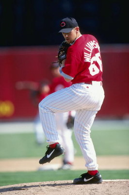 8 Mar 1999:  Pitcher Scott Williamson #66 of the Cincinnati Reds pitching the ball during the Spring Training game against the Pittsburgh Pirates at the Ed Smith Stadium in Sarasota, Florida. The Pirates defeated the Reds 3-2.