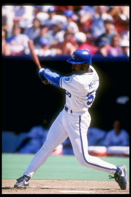 29 Jul 1993:  Outfielder Brain McRae of the Kansas City Royals in action during a game against the Texas Rangers at Royals Stadium in Kansas City, Missouri.  Mandatory Credit: Jonathan Daniel  /Allsport