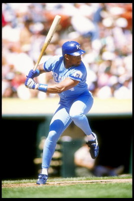1990:  Outfielder Danny Tartabull of the Kansas City Royals in action during a game at Royals Stadium in Kansas City, Missouri.  Mandatory Credit: Otto Greule  /Allsport