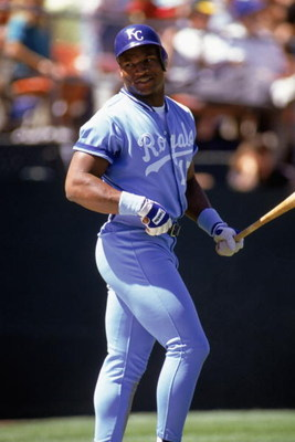 1990:  Bo Jackson of the Kansas City Royals gets ready at bat during a MLB game in the 1990 season. ( Photo by: Otto Greule Jr/Getty Images)