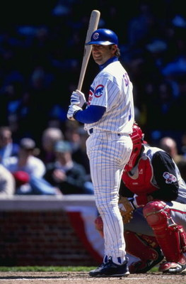 12 Apr 1999:  Gary Gaetti #8 of the Chicago Cubs at bat during the game against the Cincinnati Reds at the Wrigley Field in Chicago, Illinois. The Reds defeated the Cubs 7-2. Mandatory Credit: Matthew Stockman  /Allsport