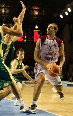 AUCKLAND, NEW ZEALAND - JULY 08:  Mario Delas of Croatia takes the ball to the hoop during the U19 Basketball World Championships match between Australia and Croatia at North Shore Events Centre on July 8, 2009 in Auckland, New Zealand.  (Photo by Hannah