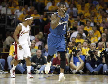 CLEVELAND - APRIL 30:  DeShawn Stevenson #2 of the Washington Wizards reacts after hitting a three-point basket over Daniel Gibson #1 of the Cleveland Cavaliers during Game Five of the Eastern Conference Quarterfinals during the 2008 NBA Playoffs at Quick