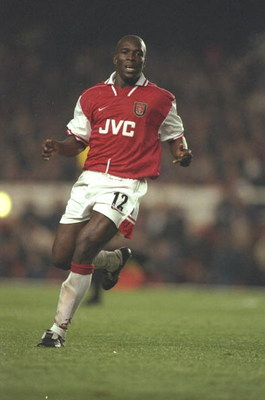 14 Oct 1997:  Christopher Wreh of Arsenal in action during the Coca Cola Cup Third Round match against Birmingham City at Highbury Stadium in London. Arsenal won the match 4-1 on penalties. \ Mandatory Credit: Stu  Forster/Allsport
