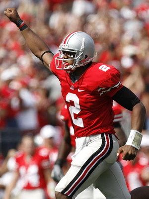 COLUMBUS, OH - SEPTEMBER 20:  Terrelle Pryor #2 of the Ohio State Buckeyes celebrates a fourth quarter touchdown against the Troy Trojans on September 20, 2008 at Ohio Stadium in Columbus, Ohio. Ohio State won the game 28-10. (Photo by Gregory Shamus/Gett