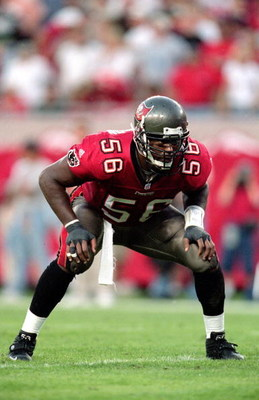 12 Dec 1999: Hardy Nickerson #56 of the Tampa Bay Buccaneers gets ready to move at the snap during the game against the Detroit Lions at the Raymond James Stadium in Tampa Bay, Florida. The Buccaneers defeated the Lions 23-16. Mandatory Credit: Andy Lyons