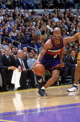 24 Mar 2000: Randy Livingston #2 of the Phoenix Suns dribbles the ball to the basket during a game against the Los Angeles Lakers at the Staples Center in Los Angeles, California. The Lakers defeated the Suns 109-101.    Mandatory Credit: Stephen Dunn  /A