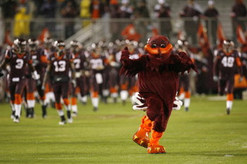 BLACKSBURG - OCTOBER 25:  The mascot of the Virginia Tech Hokies rallies the fans during the game against the Boston College Eagles at Lane Stadium on October 25, 2007 in Blacksburg, Virginia. (Photo by Kevin C. Cox/Getty Images)