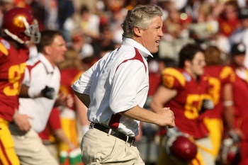 PASADENA, CA - JANUARY 01:  Head coach Pete Carroll of the USC Trojans runs on to the field during warm ups before the game against the Penn State Nittany Lions during the 95th Rose Bowl Game presented by Citi on January 1, 2009 at the Rose Bowl in Pasade