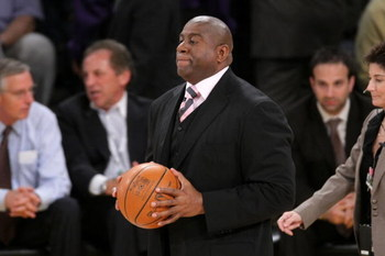 LOS ANGELES, CA - JUNE 4:  Former NBA player Magic Johnson attends game one of the NBA Finals between the Los Angeles Lakers and the Orlando Magic at Staples Center on June 4, 2009 in Los Angeles, California. (Photo by Noel Vasquez/Getty Images)