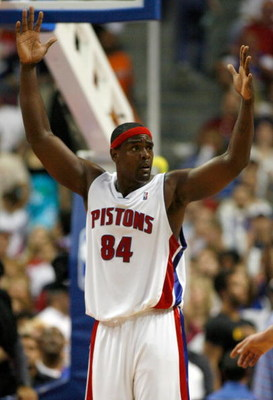 AUBURN HILLS, MI - MAY 15:  Chris Webber #84 of the Detroit Pistons reacts after a foul call while playing the Chicago Bulls in Game Five of the Eastern Conference Semifinals during the 2007 NBA Playoffs on May 15, 2007 at the Palace of Auburn Hills in Au