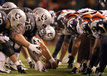 OAKLAND, CA - SEPTEMBER 8:  The Denver Broncos defense line up against the Oakland Raiders offense during the NFL game against the Oakland Raiders on September 8, 2008 at McAfee Coliseum in Oakland, California. The Broncos defeated the Raiders 41-14. (Pho