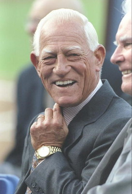 15 Aug 1997: Sparky Anderson attends ceremony to retire the uniform of Tommy Lasorda of the Los Angeles Dodgers at Dodger Stadium in Los Angeles, California.