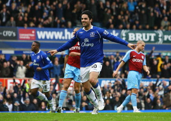 LIVERPOOL, UNITED KINGDOM - FEBRUARY 15:  Mikel Arteta of Everton celebrates after scoring from the penalty spot during the FA Cup 5th Round match sponsored by e.on between Everton and Aston Villa at Goodison Park on February 15, 2009 in Everton, England.