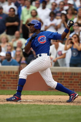 CHICAGO - JUNE 18:  Alfonso Soriano #12 of the Chicago Cubs bats against the Chicago White Sox during the game on June 18, 2009 at Wrigley Field in Chicago, Illinois. (Photo by Jonathan Daniel/Getty Images)