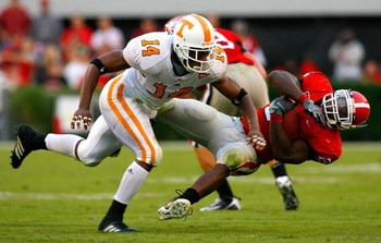 ATHENS, GA - OCTOBER 11:  Eric Berry #14 of the Tennessee Volunteers tackles Knowshon Moreno #24 of the Georgia Bulldogs during the game at Sanford Stadium on October 11, 2008 in Athens, Georgia.  (Photo by Kevin C. Cox/Getty Images)