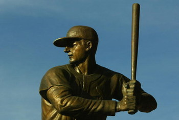 ST. LOUIS - OCTOBER 08:  A statue of Stan Musial from the St. Louis Cardinals sits outside of Bush Stadium before Game Four of the National League Division Series against the San Diego Padres at Busch Stadium on October 8, 2006 in St. Louis,  Missouri.  (