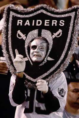 OAKLAND, CA - SEPTEMBER 2: Ralph Martinez AKA the Living Shield Man at the Oakland Raiders  vs St Louis Rams game at Network Associates Coliseum in Oakland California on Thursday September 2, 2004. The Raiders went on to win by the score of 28-24. (Photo