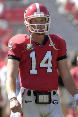 ATHENS, GA - SEPTEMBER 29: Quarterback Joe Cox #14 of  the Georgia Bulldogs warms up before play against the Mississippi  Rebels at Sanford Stadium on September 29, 2007 in Athens, Georgia.  Georgia won 45 - 17. (Photo by Al Messerschmidt/Getty Images)