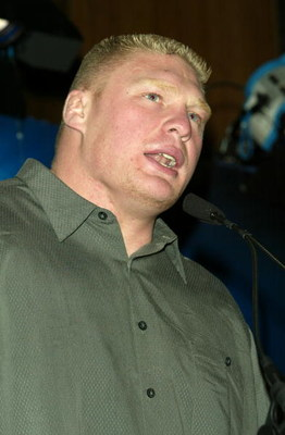NEW YORK - MARCH 11:  Wrestler Brock Lesnar attends a press conference to promote Wrestlemania XX at Planet Hollywood March 11, 2004 in New York City.  (Photo by Peter Kramer/Getty Images)