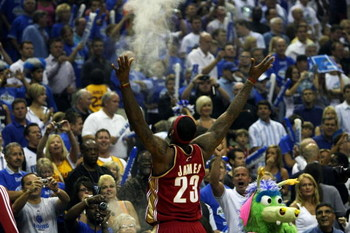 ORLANDO, FL - MAY 24:  LeBron James #23 of the Cleveland Cavaliers throws chalk in the air before the game against the Orlando Magic in Game Three of the Eastern Conference Finals during the 2009 NBA Playoffs at the the Amway Arena on May 24, 2009 in Orla
