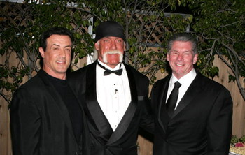 UNIVERSAL CITY, CA - APRIL 2:  Wrestler Hulk Hogan, Sylvester Stallone and Vince Mcmanon attend Sylvester Stallone's Induction of Hulk Hogan into WWE Hall of Fame  at Universal Amphitheatre on April 2, 2005 in Los Angeles, California.  (Photo by Frazer Ha