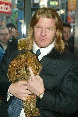 NEW YORK - MARCH 11:  Wrestler Triple H attends a press conference to promote Wrestlemania XX at Planet Hollywood March 11, 2004 in New York City.  (Photo by Peter Kramer/Getty Images)