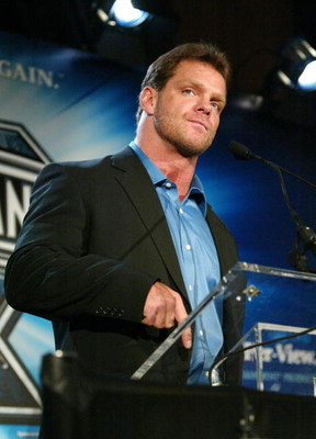NEW YORK - MARCH 11:  (FILE) Wrestler Chris Benoit attends a press conference to promote Wrestlemania XX at Planet Hollywood March 11, 2004 in New York City. Benoit, his wife Nancy and their son Daniel, 7-years-old, were found dead June 25, 2007 at their