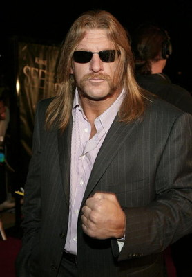 ORANGE, CA - MAY 08:  Wrestler Triple H arrives at the Lions Gate Premiere of 'See No Evil' at the Century Stadium Promenade 25 on May 8, 2006 in Orange, California.  (Photo by Michael Buckner/Getty Images)