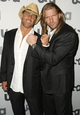 NEW YORK - MARCH 26: WWE wrestlers Shawn Michaels and Triple H attend the USA Network Upfront at The Modern on March 26, 2008 in New York City.  (Photo by Andrew Walker/Getty Images)