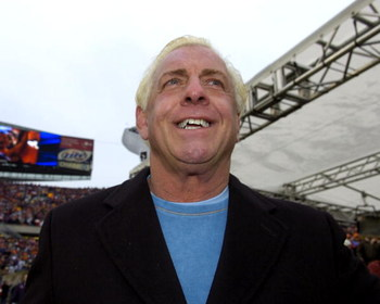 Wrestler Ric Flair on the sidelines before the NFC Championship  game as the Chicago Bears host the New Orleans Saints Jan. 21, 2007 at Soldier Field, Chicago.  (Photo by Al Messerschmidt/Getty Images)