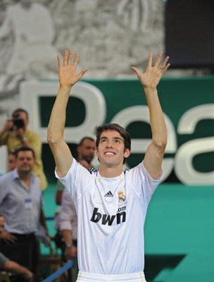 MADRID, SPAIN - JUNE 30:  New signing Kaka waves to fans during his official presentation as a Real Madrid player at the Santiago Bernabeu Stadium on June 30, 2009 in Madrid, Spain.  (Photo by Denis Doyle/Getty Images)